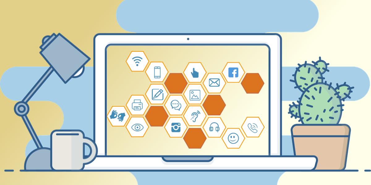 Laptop mit verschiedenen Symbolen zur digitalen Barrierefreiheit